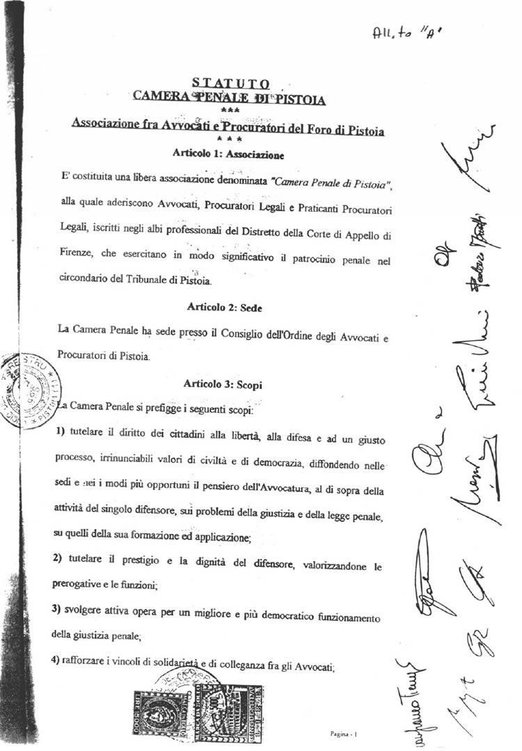 Primo statuto della Camera Penale di Pistoia